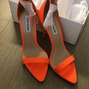 NIB Coral Nubuck Leather Ankle Strap Heels